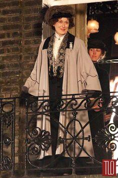 """Meryl Streep on the Set of """"Suffragette"""" as Emmeline Pankhurst"""