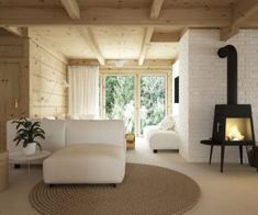 Drewniany minimalistyczny dom   Proj: Elementy   IH - Internity Home Wooden House, Floor Chair, Living Room Designs, Oversized Mirror, Bali, Cool Designs, Dining, Interior Design, Furniture