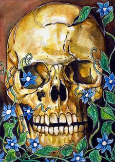 Original watercolour Illustration   Forest Skull by rachelledyer