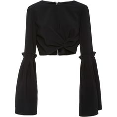 Christian Siriano     Tie Box Pleat Cropped Top (€655) ❤ liked on Polyvore featuring tops, blouses, christian siriano, crop top, shirts, black, extra long sleeve shirts, long sleeve tops, long sleeve shirts and ruched shirt