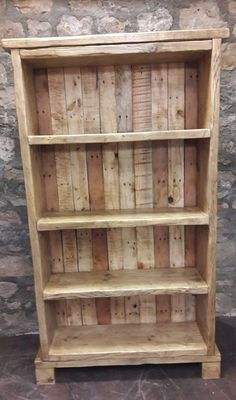 rustic furniture Handmade solid reclaimed wood bookcase shelves rustic by FabulousTashEmporium on Etsy Reclaimed Wood Bookcase, Rustic Bookshelf, Wood Bookshelves, Bookcase Shelves, Bookshelf Ideas, Pallet Shelves, Palette Bookshelf, Homemade Bookshelves, Bookcase Plans