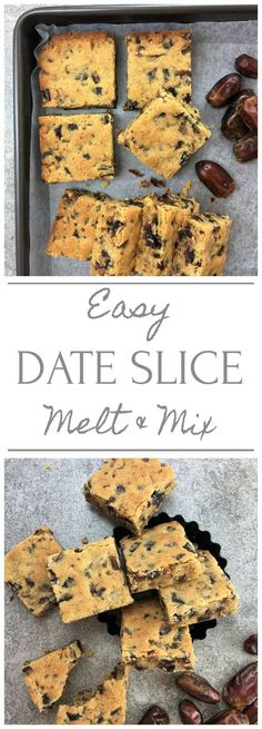 Easy date slice - just melt and mix - all the flavours of sticky date in the form of bars / slice (Favorite Pins Food Drink) My Recipes, Baking Recipes, Sweet Recipes, Cookie Recipes, Dessert Recipes, Favorite Recipes, Recipies, Date Recipes Healthy, Recipes Dinner