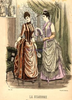 Fashion plate - Evening dress and ballgown, 1888 Italy, La Stagione