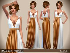 Downloaded - Ancient and modern blend together in this white and bronze long dress, worthy of a goddess!  Found in TSR Category 'Sims 4 Female Formal'
