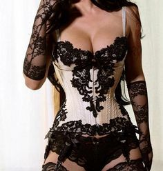 Love the ivory and black lace.