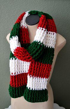 Crochet Chunky Christmas Scarf. Unisex Crochet by Africancrab