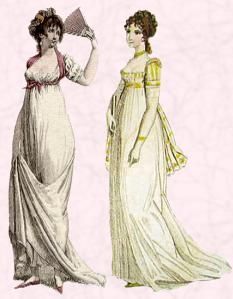 99262cc17377 French influence on Regency Fashion History. Beautiful pictures of regency  costumes in Georgian England. Napoleonic Empire line dress silhouettes, ...