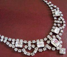 Stunning Rhinestone Necklace Signed LA REL by SunshineSurprises, $52.00