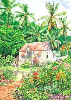 Island Grace by Anne Miller, x watercolour print Watercolor Print, Watercolours, Caribbean, Island, Architecture, Painting, Art, Arquitetura, Art Background