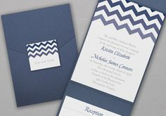 Pocket Wedding Invitations by Social Graces, LLC  100 invitations for $399.90. We will help you word them. Social Graces, LLC located in Mendham, NJ 973-543-2145