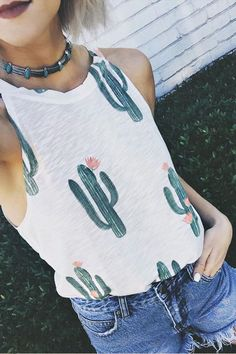 Whether you're running Saturday errands or off on a sunset adventure, the Brokedown Cactus Cream Print Tank Top is sure to boost your mood! Casual Outfits, Summer Outfits, Cute Outfits, Casual Wear, Mein Style, Mode Boho, Printed Tank Tops, Print Tank, Looks Style