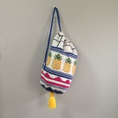 Knit Pineapple Backpack with Tassel on Etsy