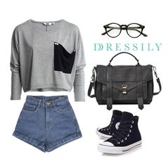 A cropped pullover or jumper, high-waisted shorts and high-cut sneakers is a great casual outfit for school or a day out. Fun and fuss-free! www.dressi.ly