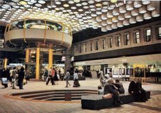 Eldon Square shopping centre, Newcastle, in the late showing the flying saucer café - sadly no longer with us. Eldon Square, Dead Malls, Durham City, Shopping Malls, Commercial Architecture, Vintage Interiors, Retro Futurism, Shopping Center, Architecture Details