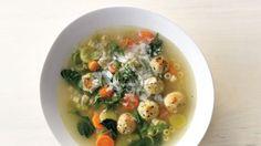 Spring Minestrone with Chicken Meatballs Recipe | Bon Appetit