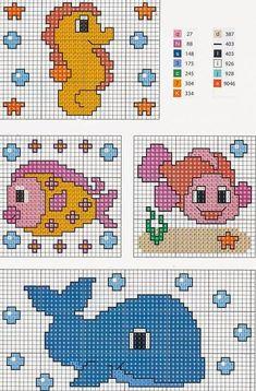 pesciolini balena cavalluccio marino schemi ricamo Cross Stitch Sea, Cross Stitch For Kids, Cross Stitch Cards, Cross Stitch Animals, Cross Stitching, Cross Stitch Embroidery, Hand Embroidery, Cross Stitch Designs, Cross Stitch Patterns