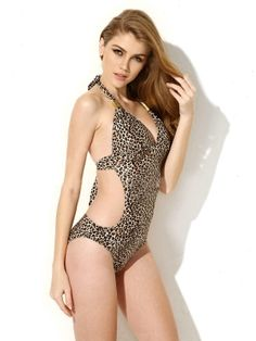 e23f9ed1703c8 New Sexy Leopard Print One-piece Swimwear with Cut-out Side Beach Wear  Dresses