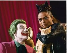The Joker and Catwoman played by Cesar Romero and Eartha Kitt in Batman television show. Batman 1966, Im Batman, Batman Robin, Superman, Batman Show, Batman Tv Series, Eartha Kitt Catwoman, Nananana Batman, My Superhero
