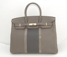 Authentic Hermes Birkin 35 Club Etain Graphite Lizard