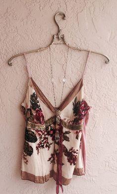 Romantic Great Gatsby Silk Beaded camisole