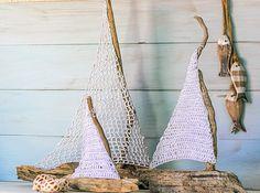 Vicky's Home: DIY Barcos con madera a la deriva y crochet / Driftwood and crochet sailboats Diy