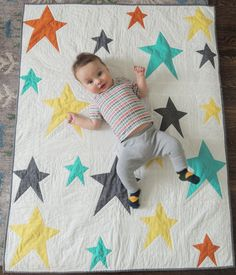 Modern Stars Unisex Baby Quilt and Playmat by LordandLittle