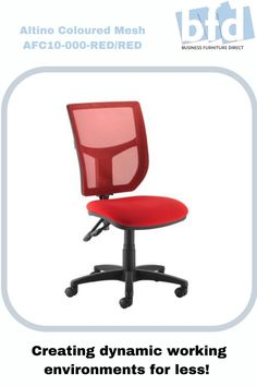 This colourful version of the best-selling Altino operator chair features a well-padded fabric seat with a matching mesh back in 3 popular colours. The mesh fabric helps keep users cool and relaxed throughout the day with superior breathability generated by the mesh material, which helps air to circulate between your back and the chair, in addition to injecting a bit of colour, fun and design into the office environment. Business Furniture, Home Office Furniture, Mesh Chair, Furniture Direct, Office Environment, Mesh Material, Back Seat, Chair Fabric, Mesh Fabric