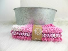 Washcloths Double Knit in Pink Set of 3 by HeavenBoundHCA, $7.65 USD