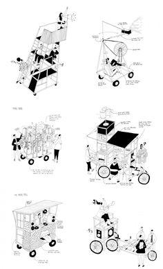 raumlabor - House of Time, Bruges, Belgium Architecture Drawings, Concept Architecture, Architecture Design, Time Diagram, Public Space Design, Kiosk Design, Concept Diagram, Illustration, Portfolio Design