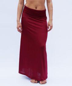 Loving this Bleu Summer Burgundy Fold-Over Maxi Skirt on #zulily! #zulilyfinds