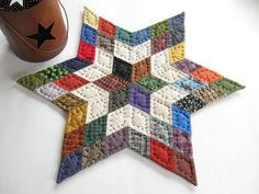 Star Table Top Quilt Quilted Table Topper Quilted by dlf724