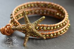 Gold Starfish Beaded Pearl Leather Wrap by gypsygreencreations, $38.00