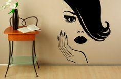 Manucure Wall Decal vinyle autocollants beauté fille mains