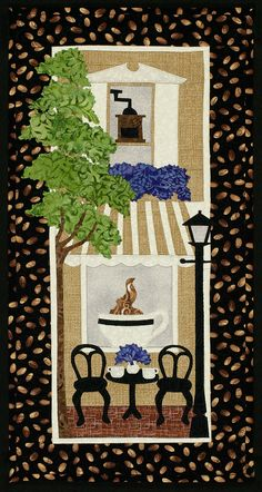 """Coffee Cup Cafe, 10 x 22"""",  wall hanging applique pattern at Sweet Season Quilts"""