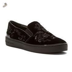 MICHAEL Michael Kors Women's Kyle Slip On Black Velvet/Nappa/Beaded Lace 8 M - Michael kors sneakers for women (*Amazon Partner-Link)