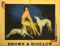 Brown & Bigelow, 1920s - original vintage Art Deco poster by Rolf Armstrong listed on AntikBar.co.uk
