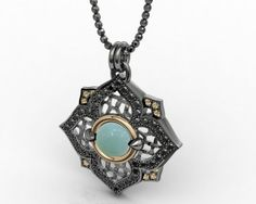 Pendant Sterling Silver 925, Pink Gold 18K, Milky Aquamarine, Black Spinel, CZ Champage + Chain Price : $617.73 #pendant #bohemmejewelry