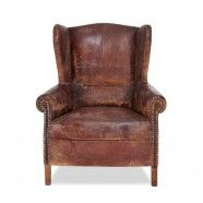 Edge Leather Wingback Chair