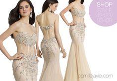 Camille La Vie Strapless Illusion Prom Dress