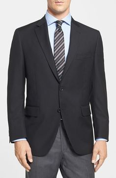 $495, Black Blazer: Peter Millar Classic Fit Black Wool Sport Coat. Sold by Nordstrom. Click for more info: https://lookastic.com/men/shop_items/194821/redirect