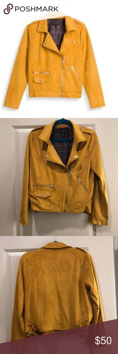 Blu Pepper Medalle Faux Suede Jacket I bought this jacket from Stitch Fix and have only worn it twice. It's an incredibly vivid mustard color (perfect for a redhead ;) ) and soft to the touch. There is a small area of speckled fabric on the back of the jacket that is minor but I have included a photo of it. It wears like a true slouchy size 4/6. Make me an offer! 😊 Blu Pepper Jackets & Coats Utility Jackets