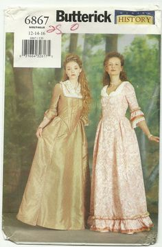 Butterick #B6867 Colonial Day Dress - Wish I could find this out-of-print pattern in my size for Revolutionary War Reenacting.