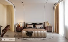 YACHT on Behance Hotel Room Design, Bedroom Furniture Design, Master Bedroom Design, Home Bedroom, Modern Bedroom, Living Room Tv Unit Designs, Round Beds, Suites, Luxurious Bedrooms
