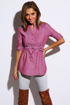 #1015store.com #fashion #style PLUS SIZE red chambray pleated sash tie button up tunic blouse-$15.00