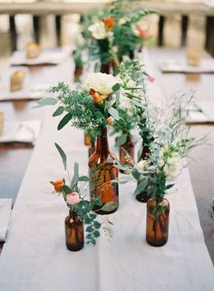 Use these budget-friendly wedding decor tips to save real money . Use these budget-friendly wedding decor tips to save real money. Empty Glass Bottles, Amber Bottles, Brown Bottles, Wine Glass, Small Bottles, Reuse Bottles, Clear Glass, Glass Vase, Gold Bottles