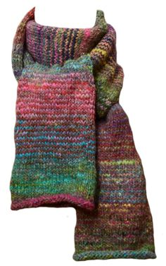 Hand Knit Scarf  Pink Green Striped by StudioatRedTopRanch on Etsy