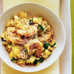 Fresh summer zucchini is delicious mixed with shrimp and barley risotto. | Health.com