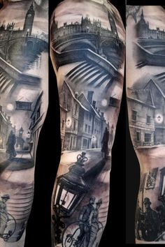 Awesome London scenery sleeve tattoo.
