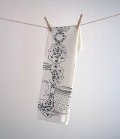 Screen Printed Organic Cotton Mason Jar Kitchen Flour Sack Tea Towel by oh, little rabbit