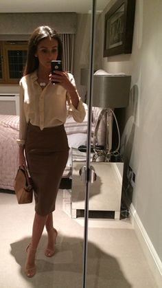 zara silk blouse, zara brown/tan leather skirt £25.99, nude ankle strap heel sandals, hair - chic work/date look